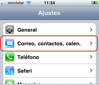Configurar email iPhone